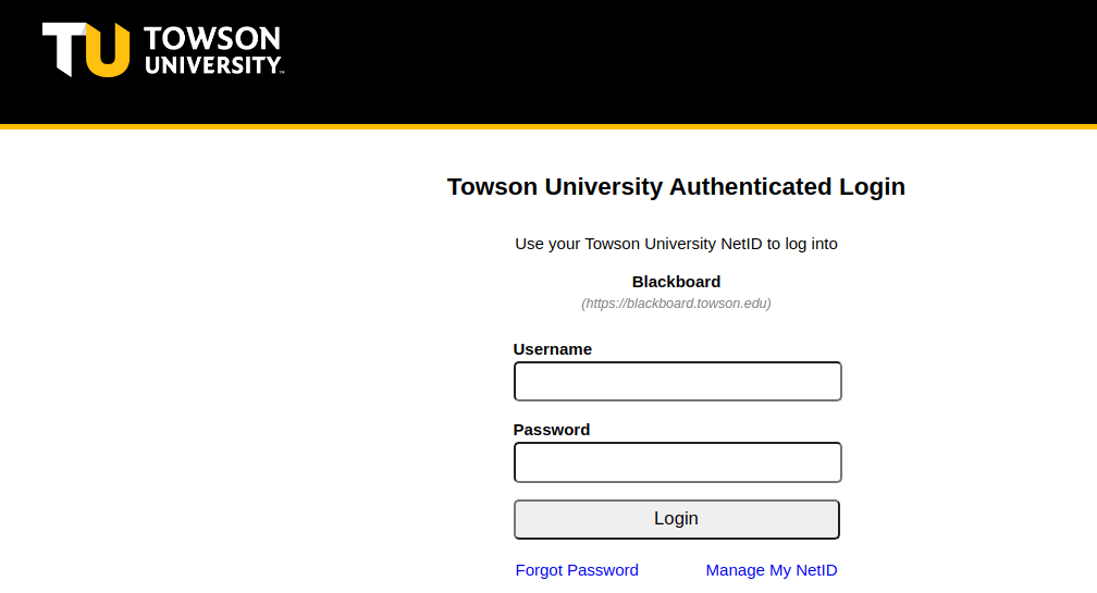 Towson University Authenticated Login